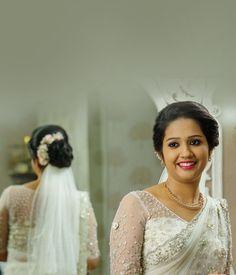 Christian Bridal NetSaree with Floral Highlights and Pearl Work Kerala Wedding Saree, Kerala Bride, Wedding Silk Saree, Lace Saree, Bengali Bride, White Saree, Bridal Sarees, Christian Wedding Dress, Christian Bridal Saree