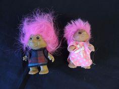 Vintage 1985 Norfin Troll Doll Kids Pink Hair DAM Denmark Set 2 Toy Dressed Toy #DAM #NorfinTrollDolls
