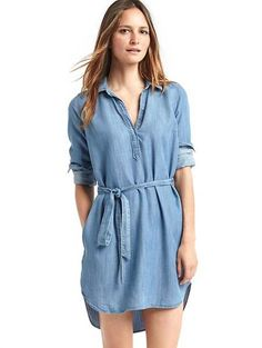 There's something so easy about this chambray shirt dress.