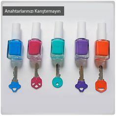 Anahtarlarınızı boyayarak anahtar aramakla uğraşmayın. Ve rengarenk bir anahtarlığınız olsun.