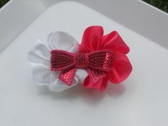 White and Pink Satin Flower with Pink Sequined by AshleyKBowtique, $5.95