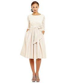 Jessica Howard 3/4 Sleeve Beaded Empire Waist Dress