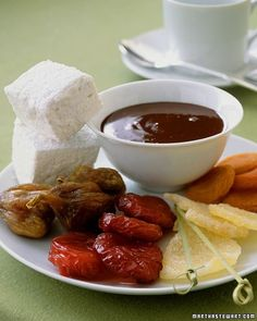 Quick, easy, and fun, chocolate fondue is a perfect dessert for parties or intimate dinners. Select your choice of items for dipping in the fondue, such as fresh strawberries and pineapple chunks, dried apricots and pears, cubes of pound cake, or crisp cookies. If you like, you can also add a few tablespoons of liqueur to the fondue, such as orange, raspberry, mint, or hazelnut.