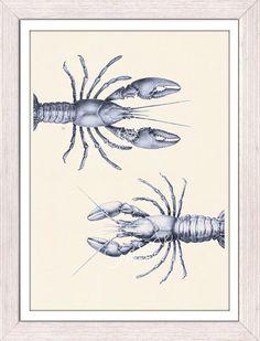 Print wall decor Blue Lobsters couple sea life print