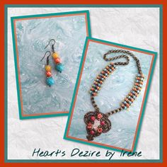 July/August 2016 Challenge. Necklace made with B'sue cuff stamping and book chain. Book chain beaded with dyed MOP beads, red and turquoise seed beads and Swarovski crystals. Heart's Dezire by Irene