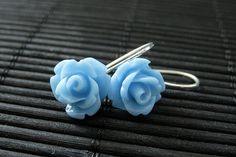New to StumblingOnSainthood on Etsy: Blue Rose Dangle Earrings. Silver Hook Flower Earrings. Flower Jewelry. Handmade Jewelry. (12.00 USD)