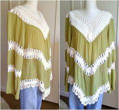 Vtg hippie tunic, sheer linen + crochet, sexy beach cover, festival blouse, long bell sleeves, womens large