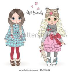 Hand drawn beautiful cute little girls on the background with inscription best friends. Vector illustration.