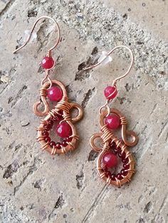 Earrings - Malaysian Jade, Copper Hammered Wire Wrapped with Dark Red Seed Beads, Semi Precious Stones, Handmade Artisan Jewelry