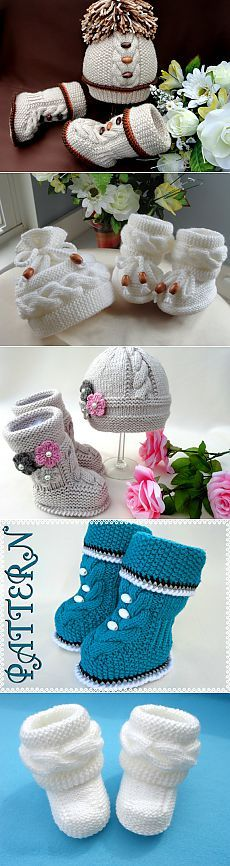 """""""Maybe make crochet versions?"""", """"Children knitted things from Elena Mitchell."""", """"Find and save knitting and Crochet Baby Booties, Crochet Shoes, Crochet Slippers, Crochet Dolls, Knit Crochet, Baby Girl Patterns, Baby Knitting Patterns, Knitting Designs, Crochet Designs"""