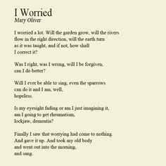 Beautiful words by Mary Oliver on the futility of worry. Pretty Words, Beautiful Words, Cool Words, Wise Words, Beautiful Poetry, Beautiful Soul, Mary Oliver Poems, Poem Quotes, Inspirational Books