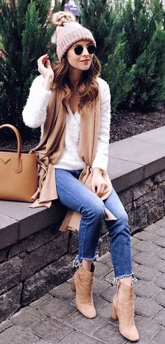 #winter #outfits white v-neck long-sleeved shirt and denim bottoms