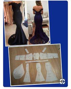 Long dress pattern Off shoulder sleeves - Salvabrani Mermaid gown pattern Order via our link / line : modelliste - Salvabrani Tulle basic block with pencil skirt dress pattern. Long Dress Patterns, Wedding Dress Patterns, Dress Sewing Patterns, Clothing Patterns, Mermaid Dress Pattern, Gown Pattern, Pants Pattern, Sewing Clothes, Diy Clothes