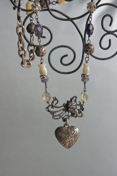 Winds of Love-Vintage assemblage necklace sterling heart art deco gemstones rhinestones assemblage jewelry -by French Feather Designs.