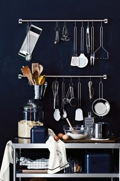 Introducing Williams Sonoma Open Kitchen Cooking Tools - outfit your kitchen with everyday values for every meal. Gather, Cook, Eat & Repeat with our affordable collection of kitchen tools and utensils from Open Kitchen. Black Kitchens, Cool Kitchens, Ideas Para Organizar, Kitchen Collection, Commercial Kitchen, Kitchenette, Open Kitchen, Bar Kitchen, Hanging Bar