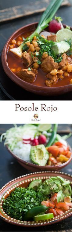Posole Rojo ~ Traditional Mexican posole (pozole), a broth rich soup made with pork, red chiles, and lots of add-ins like shredded cabbage, radishes, cilantro, lime, and avocado. ~ SimplyRecipes.com