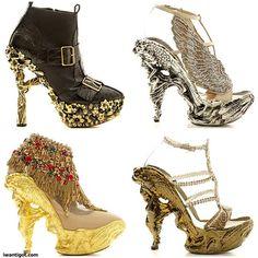 Alexander McQueen Fall 2010 Shoes he's the designer that proves fashion is an art form Weird Fashion, Fashion Shoes, High Fashion, Women's Fashion, Crazy Shoes, Me Too Shoes, Weird Shoes, Alexander Mcqueen Schuhe, Expensive Heels