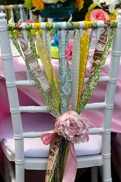 Cloth ribbons are a fun way to dress up chairs for any party or wedding. A pretty detail for your Mother's day brunch, tea party, bridal shower & more. Bodas Boho Chic, Hippie Party, Deco Boheme, Tea Party Bridal Shower, Bridal Showers, Festa Party, Partys, Wedding Chairs, Deco Table