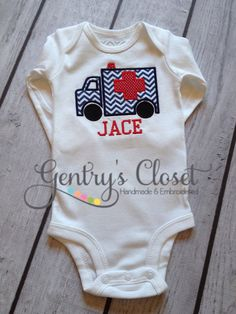 Chevron ambulance shirt / onesie. Personalized name. EMT, first responder. Ambulance appliqué with name. on Etsy, $23.00