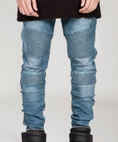 Jeans Analytical Justin Bieber Men Fancy Trouser Jumpsuit Urban Hip Hop Punk Motorcycle Moto Blue Distressed Ankle Zipper Skinny Ripped Jeans