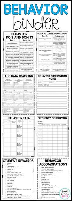 Behavior binder for ABC data collection, behavior data tracking and many helpful behavior resources for teachers. Autism Behavior Management, Special Education Behavior, Behavior Management Strategies, Kids Behavior, Behavior Plans, Behavior Interventions, Classroom Management, Data Tracking, Behavior Tracking