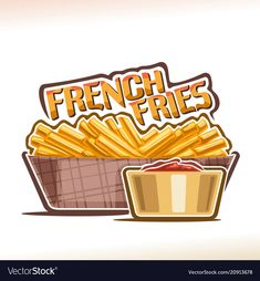 Logo for french fries Royalty Free Vector Image Fries Packaging, Smoked Burgers, Potato Sticks, Fast Food Menu, Food Clips, Food Cartoon, Catering Food, Plate Design, Logo Food