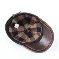 2018 nuevo invierno primavera caliente hombres sombrero de cuero genuino de  piel de vaca gorras 3 405c8396963