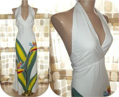 Vintage 90s 70s Bird of Paradise Halter Maxi Sun by IntrigueU4Ever, $49.00