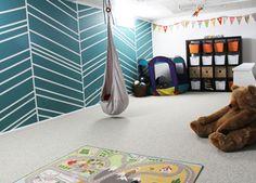 Playroom, chevron, swing, ikea, herringbone , paint, ball pit, teal, white, focal wall, kids, children, painters tape feature,