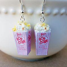 Popcorn Earrings - Food Earrings - Polymer Clay