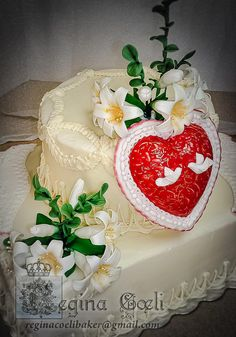 Meter Castissima Heart Cakes, White Doves, Blessed Virgin Mary, Chocolate Fudge, Fancy Cakes, Fondant, Cake Decorating, Daily Inspiration