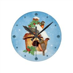 Winter Birds and Birdhouse Wall Clock