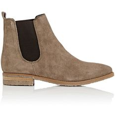 Barneys New York Women's Crepe-Sole Suede Chelsea Boots (61 KWD) ❤ liked on Polyvore featuring shoes, boots, ankle booties, botas, ankle boots, grey, suede booties, low heel ankle boots, short heel boots and chelsea boots