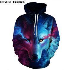 buy on wallmart.win PLstar Cosmos Spring/Autumn Hipster Fashion New Kids Animal Wolf 3D Print Hoodies Men/Women Hooded Sweatshirts…