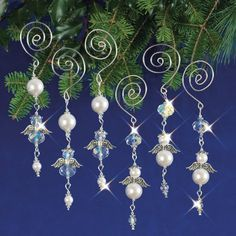 """Nostalgic Christmas Beaded Crystal Ornament Kit """"Dangling Angels"""" Set of Wire Ornaments, Ornament Crafts, Christmas Crafts, Homemade Christmas, Felt Christmas, Merry Christmas, Christmas Quotes, Christmas Music, Christmas Trees"""