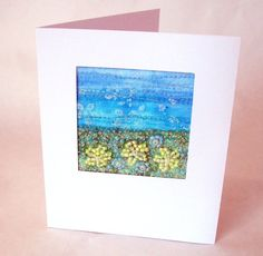 Handmade beaded card -  yellow beaded flowers - fabric art card - hand embroidered - fabric landscape - field of flowers