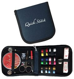 Quick Stitch Mini Travel Sewing Kit with All Basic Sewing Supplies in a Navy Blue Compact Case >>> Check this awesome product by going to the link at the image.