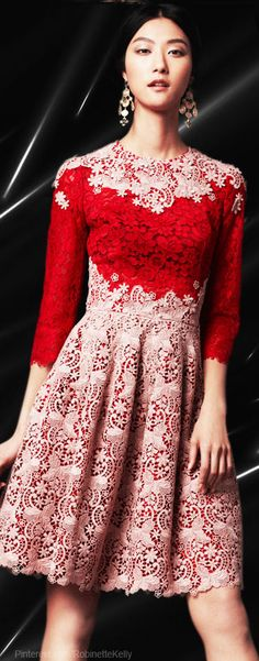 Dolce & Gabanna | Light Pink and Red Lace Dress - lets add some African print to it