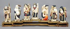 A Set of Seven Carved Ivory Good Luck Deities. : Lot 1703205