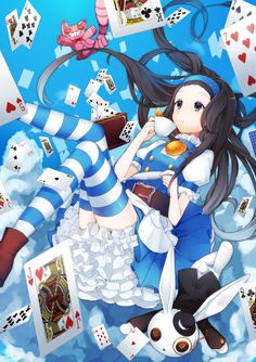 ✮ ANIME ART ✮ Alice in Wonderland. . .Alice. . .Cheshire Cat. . .White Rabbit. . .dress. . .bloomers. . .ruffles. . .long hair. . .striped socks. . .falling. . .playing cards. . .tea cup. . .fairy tale. . .cute. . .kawaii