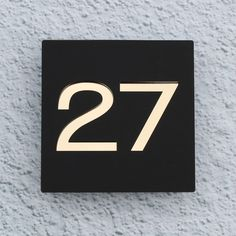 98a2c2494b5 Modern Acrylic House Number Sign. 20x20cm. Floating 2 Colour Design. Matt  Black on