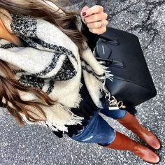 Casual winter outfit black and white blanket scarf. Tory butch riding boots and givenchy Antigona