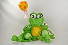 3 van de 7 Ballon Wensdieren heb ik gehaakt met mini Nooodles:   Hier zie je ze samen met de kleine varianten gehaakt met haakkatoen.   De ...