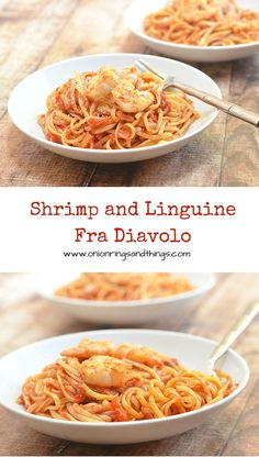 """Fra Diavolo means """"Brother's Devil"""" and this Shrimp and Linguine Fra Diavolo indeed comes with big, bold flavors. With al dente pasta, plump shrimps and a hearty, spicy tomato sauce, it's an awesome pasta dish everyone at the dinner table is sure to love."""