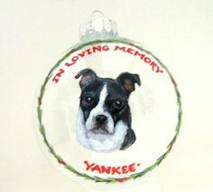 Boston Terrier Memorial Ornament Pet Portrait Dog Loss by petzoup, $27.50