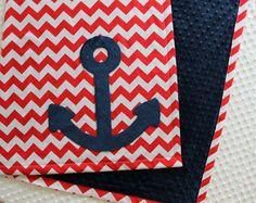 Nautical Nursery, Nautical Crib Bedding, Anchor BabyBlanket, Red Chevron Blanket by TheAmberRoseEmporium