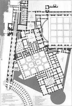 Architectural Drawing Patterns Plan of the ground floor of the Papal Palace, the Vatican, by Paul Marie Letarouilly Baroque Architecture, Islamic Architecture, Architecture Drawings, Classical Architecture, Architecture Plan, The Plan, How To Plan, Le Vatican, Palazzo