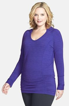 Zella 'Reflect' Striated Hoodie (Plus Size) available at #Nordstrom
