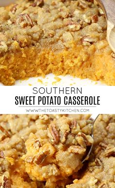 Southern Sweet Potato Casserole by The Toasty Kitchen #casserole #sweetpotato #thanksgiving #southern #pecans #sweet #dessert #sidedish #christmas #holidays #homemade #recipe #fromscratch Thanksgiving Dinner Recipes, Thanksgiving Side Dishes, Christmas Recipes, Nut Recipes, Side Dish Recipes, Fall Recipes, Cooking Sweet Potatoes, Mashed Sweet Potatoes, Sweet Potato Casserole Southern