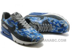 Discount 234120 Nike Air Max 90 Men White Black Blue Shoes